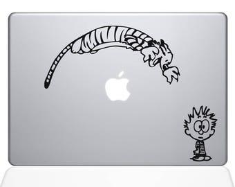 Calvin & Hobbes Inspired Vinyl Decal Sticker Leaping Jump Apple Laptop MacBook Room Decor Nursery