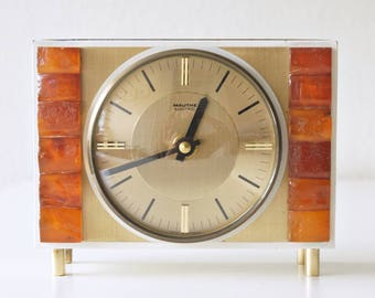 Vintage table / desk clock, made by Mauthe, Germany. Mid Century