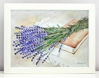 Lavender Watercolor Flowers painting Original watercolor painting  Lavender Still life Purple flowers Painting flowers
