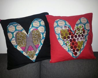 Pair of hearts on wax pillow covers