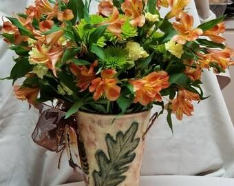 "Medium Metal Vase ""LEAVES"""