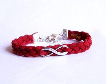 Red alcantara leather bracelet with ' infinite ' symbol