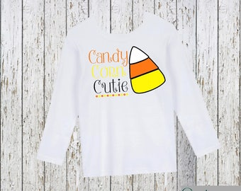 Candy Corn Cutie Halloween Girl's Shirt Black or White Option