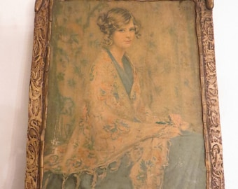Vintage Alice Blue Gown Lithograph Framed w/ free ship