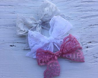 Floral lace bows | white • grey • dusty rose | baby bows | toddler bows