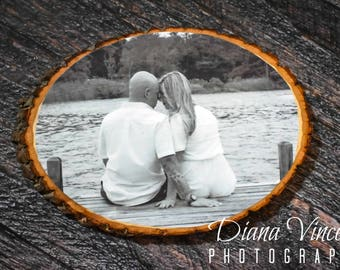 Handmade Wooden Bark Photo Plaque