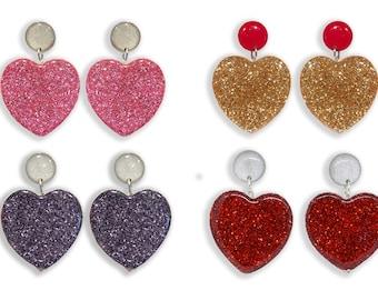 Mega Hearts - Statement Earrings - Clip On Earrings - Large Dangle Heart Earrings - Glitter Earrings - Valentines Earrings - Lual Boutique