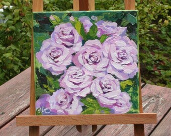 Rose acrylic painting Palette knife Impasto painting Floral art Pink flowers art Housewarming gift Bedroom wall decor Abstract rose picture