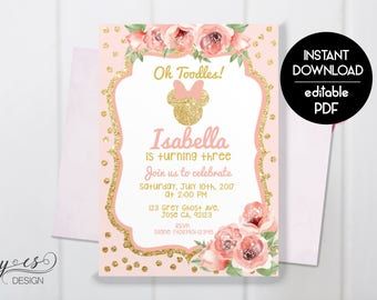 ANY AGE Minnie Mouse Birthday Invitation, Minnie Floral One year Invitation, Two, Three, Four, Five, Disney Invitations, Digital Invitation