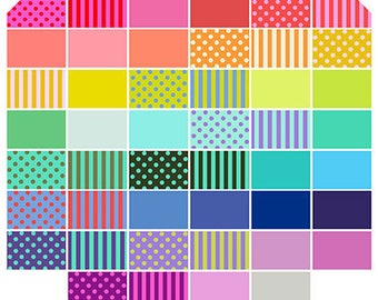 PRE-ORDER All Stars Pom Poms, Solids and Stripes Pre-Cut Hexagon Bundle by Tula Pink