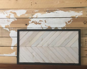 Framed herringbone wall art or tray-customizable colors/finishes