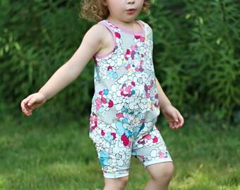 baby romper - toddler romper - harem romper -  floral romper - pop floral