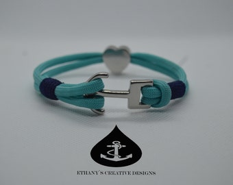 ECD Nautical Anchor Bracelet with Heart Charm