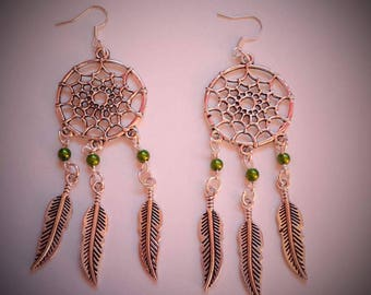 earring dream catcher made with khaki beads Pearl