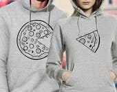 pizza hoodies / couple hoodies / couple sweaters / his and hers hoodies / matching couple hoodies / couples sweatshirt / pärchen pullover