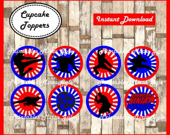 American Ninja Warrior cupcakes toppers, printable American Ninja Warrior party toppers, American Ninja Warrior cupcakes toppers