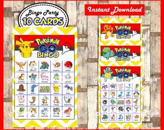 Pokemon Bingo 10 Cards, printable Pokemon Bingo game, Pokemon printable bingo cards instant download