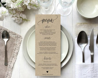 Editable wedding menu template, Rustic Printable wedding menu card, Instant Download, PDF