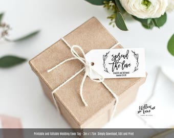 Spread the Love Printable Favor Tag, Gift Tag Template, Instant Download Editable PDF, WLP427