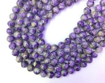 Natural Charorite Beads 8mm Genuine Purple Gemstone Beads Purple Mala Beads Purple Semi Precious Stone Charorite Bracelet Necklace Supplies