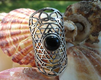 sunshine, plated, black onyx ring silver, size 60