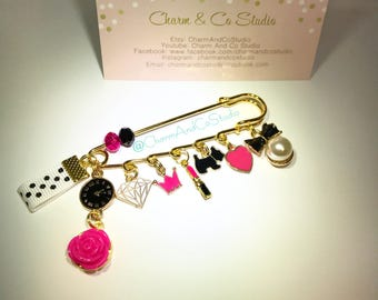 Fashion Accessory, Safety Pin Charm, Brooch and Scarf Pin. Black, White, & fuschia.