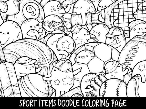 Sports Coloring Pages For Adults. Sport Items Doodle Coloring Page Printable  Cute Kawaii for Kids and Adults