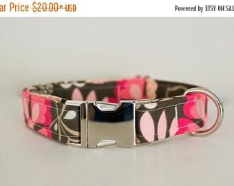 Dog Collar- Floral Dog Collar- Flower Dog Collar- Girly Dog Collar- Pink Dog Collar- Brown Dog Collar- Pretty Dog Collar- Cute Dog Collar