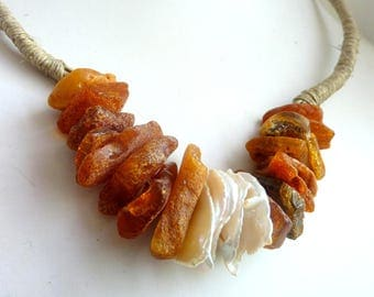 Amber Jewelry .Nugget Amber .Amber Necklace Natural Amber Necklace Matt Amber Necklace Baltic Amber Necklace