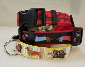 Wiener Dog Handmade Dog Collar 1 Inch Wide Medium Only