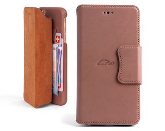 iPhone 6 Plus Leather Wallet Case - Wallet Case iPhone 6 Plus - iPhone Wallet Case - Leather Flip Case iPhone 6 Plus - Stand - ROSY BROWN