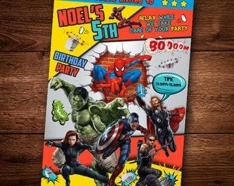 Birthday Invitation Card, Avangers, Super Heroes, Hulk, Spiderman
