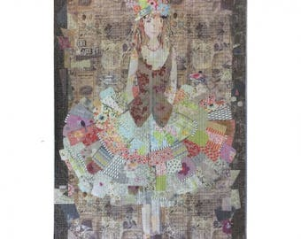 The Dress fabric collage by Laura Heine