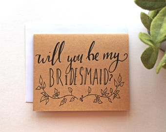 Bridesmaid Ask Card: Wedding Party Bridesmaid Hand-Lettered Whimsical Greeting Card