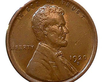 1920 S Lincoln Wheat Cent - AU - Almost Uncirculated