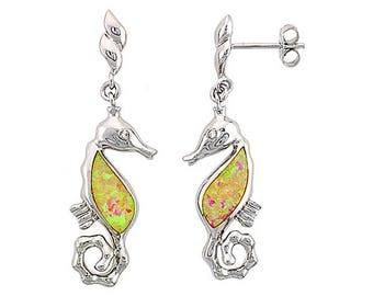Sterling Silver Pink Opal Seahorse Dangle Earrings