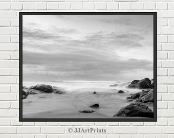 Printable ocean photo download, sea photo printable, black and white beach photo, landscape, seascape, ocean in the fog, sky photo print