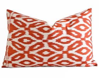 ikat pillow hand woven silk ikat pillow cover ikat throw pillows orange coral ikat pillow designer
