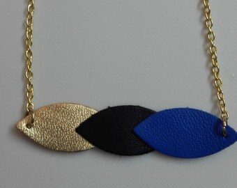 NECKLACE gradient gold leather leaves / Royal Blue