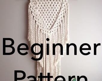 "Pattern pdf DIY Macramé Wall Hanging ""Joan of Arc"" Beginner Swag Design Basic Instructions Macrame Fiber Arts Pattern Only"