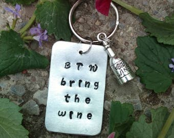 BTW Bring the Wine Keychain