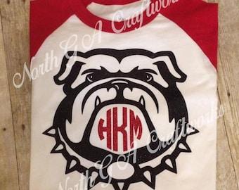 Ladies Shirt Bulldog UGA University of Georgia Game Day Raglan T-shirt Personalized Monogrammed Baseball Womens