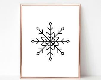 Black and White Printable Snowflake 1, Christmas Printable Wall Art, Christmas Printable Art, Christmas Printable Decoration, Holiday Decor