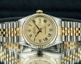 Authentic Rolex Men's Datejust 1601 Two-Tone Champagne Dial Yellow Gold Fluted Bezel
