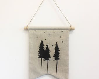 Midnight Trees - Hand Painted Wall Banner, Wall Hanging, Wall Banner