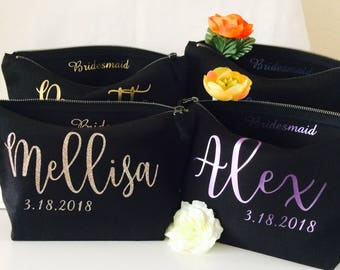 Created with style personalised Bridesmaid gift wedding gift cosmetic bag makeup bag