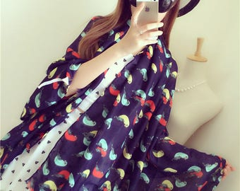 Extra Large Supple Cotton Wrap Shawl with Parrot Print