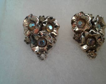 Goldtone and Aurora Borealis Crystal Floral Cluster Clip On Earrings