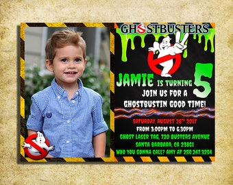 Ghostbusters Invitation - Ghostbusters Chalkboard Birthday Invite With Photo - Printable And Digital File