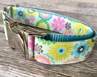 "Sunny Floral 1"" Wide Dog Collar, Flower Dog Collar, Female Dog Collar, Large Breed Dog Collar, Girl Dog Collar Leash"